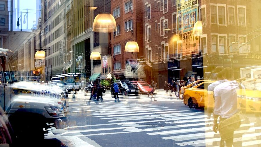 -Headed Into the City- NYC NYC Street NYC Photography On The Go  Reflection The Minimals (less Edit Juxt Photography) Just Chillin' Cafe Bright Beautiful Day Reflections