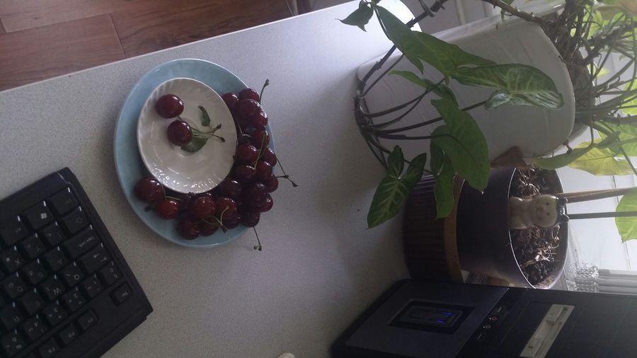 Cherries Healthy Eating Office Table Plastic Plate Plants Break 20 Minutes Eating Sweet Cherries Health Work Desk Eat Eat More Fruit Delicious