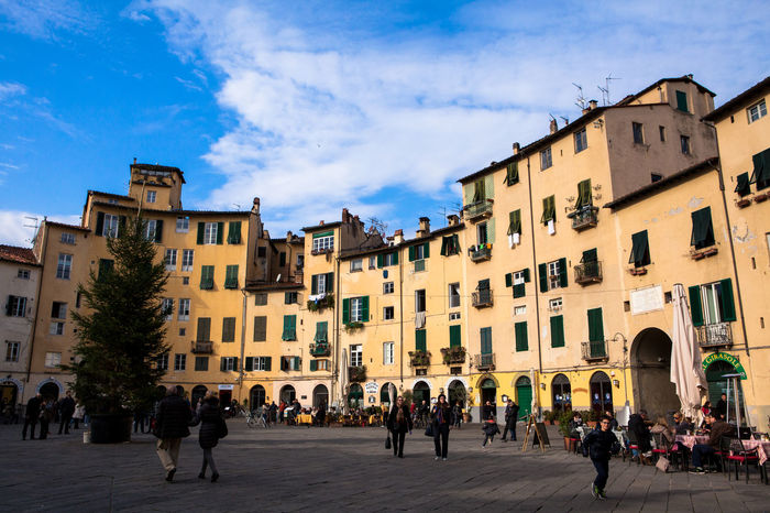 Lucca, Tuscany, Italy. Piazza dell'Anfiteatro (Amphitheatre Square), one of the city's landmarks. Lucca Tuscany Toscana Italy Italia Square Citylife Landmark Cityscapes Cityscape