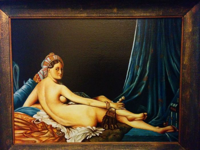 "A copy from original painting by Jean Aguste Dominique (la grande odalisque),I'm dedicating this painting to a wonderful sweet and a very nice lady friend ( Karen) ,thank you so much sweetheart and hope you like this canvas,oil on canvas 24""_32"". Portrait Old Masters Painting Fine Art Painters. Drawing Fine Art Art, Drawing, Creativity Iconic Famouspainter Modern Masters Artcollection Koi."
