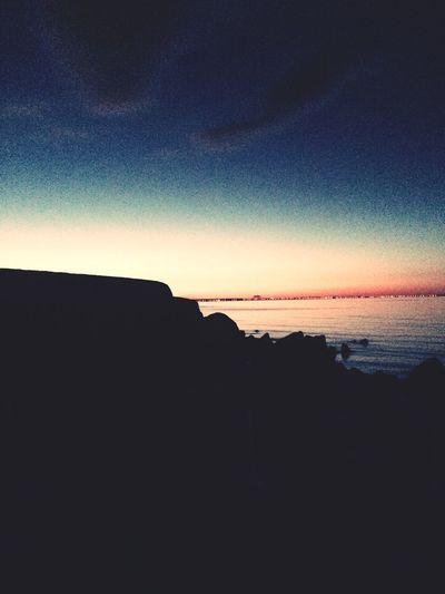 Silhouette Seashore Dusk