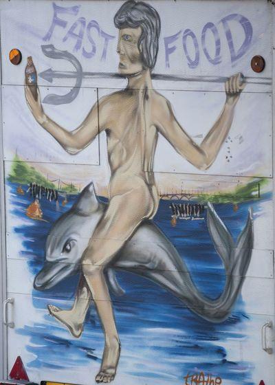 Taranto Streetphotography Pornfood From My Point Of View Simbol Of City Man On Dolphin Hello World