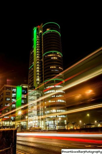 Build Illuminated City Night Architecture Skyscraper Building Exterior Light Trail Long Exposure Modern Outdoors Tower Built Structure Urban Skyline