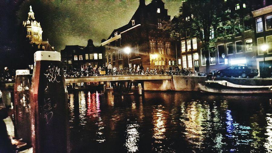 Amsterdam Canal Amsterdamcity Water Night