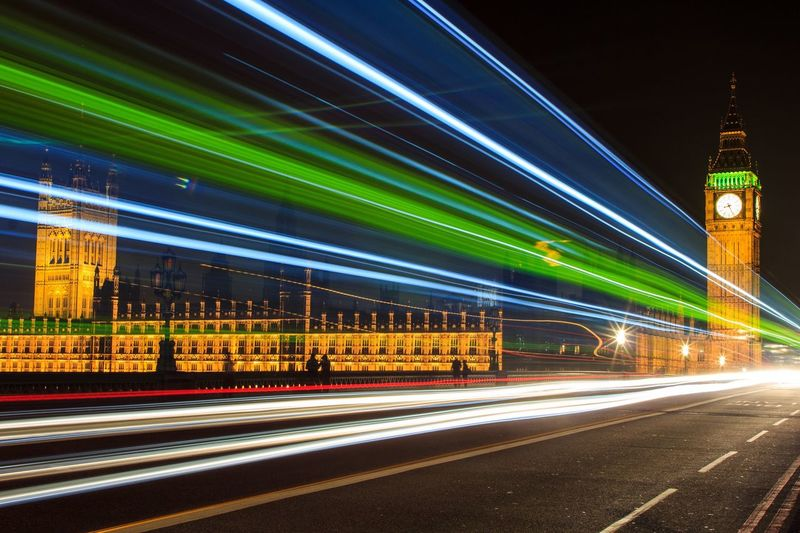 Night Illuminated City Architecture Built Structure Light Trail Long Exposure Travel Destinations Building Exterior Speed Transportation Blurred Motion Road Clock Tower