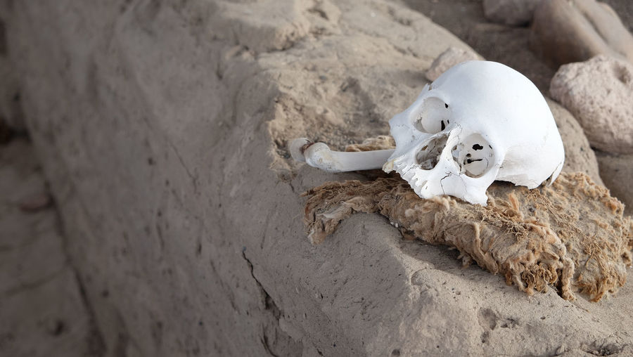 Ancient Civilization Cemetery Chauchilla Death Ica Inca Mummy Pre-inca Remains Of The Nazca Culture Are Still Visible Of The Ancient Pre-Inca Desert Cemetery Site Of Chauchilla, With 1500-year-old Mummies, Bones, And Pottery On The Desert Floor. Skull