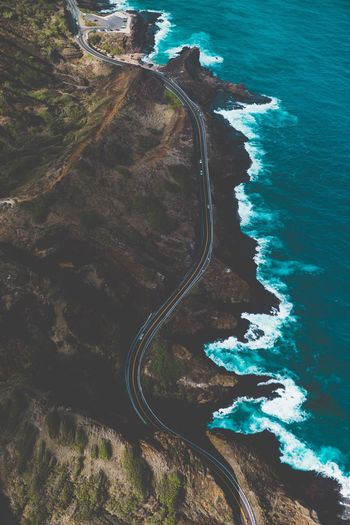 High Angle View Of Road By Sea