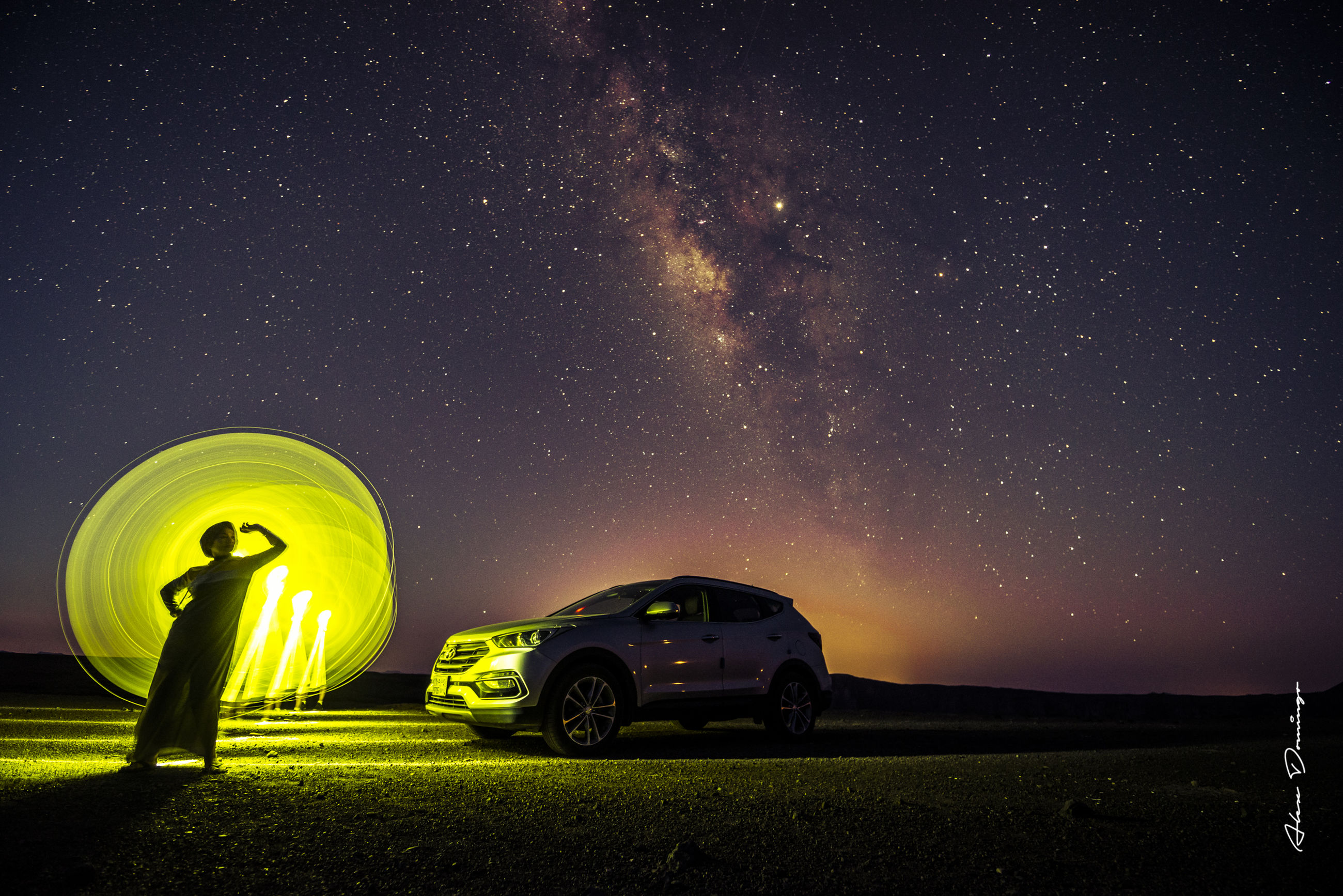 night, mode of transportation, sky, star - space, transportation, motor vehicle, car, field, space, land vehicle, astronomy, nature, land, scenics - nature, galaxy, beauty in nature, star field, star, one person, constellation