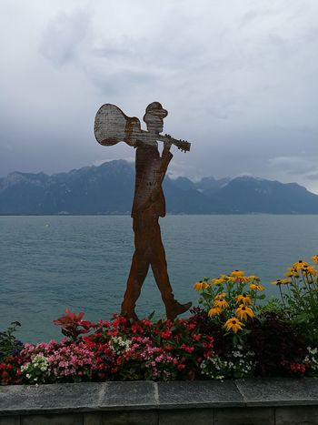 Mountain Flower Outdoors In Front Of TakeoverContrast Lacleman Sulpture Men And Guitare Music Festival Miles Away