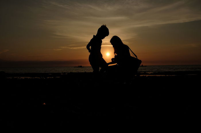 a mother's love Silhouette Silhouettes Sky Tranquility Outdoors Cloudy Dark Cloud Beauty In Nature Live Love Shop Tranquil Scene Nature Sunset Landscape Idyllic Sun MothersLove✨ Motherslove Two Is Better Than One. Two Is Better Than One~ Two Is Better Than One