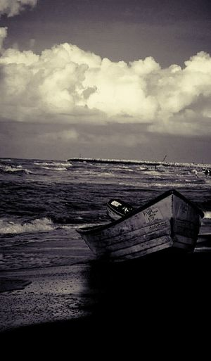 Caspian beach in babolsar city in iran Beach Seaside Sea Clouds And Sky Cloads Waves, Ocean, Nature Enjoying Life Black And White Monochrome Nature