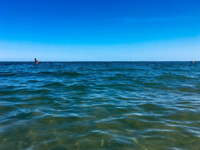 Water Sea Sky Blue Horizon Over Water Horizon Beauty In Nature Nature Tranquil Scene Tranquility Real People Leisure Activity Day Clear Sky Scenics - Nature Waterfront
