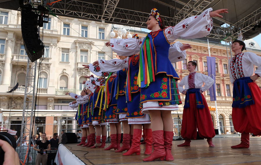 Members of folk group Sopilka from Vegreville, Alberta, Canada, during the 50th International Folklore Festival in center of Zagreb, Croatia on July 20, 2016 Alberta Canada Celebration Costume Costume Croatia Culture Dance Entertainment Event Festival Folk Folklore Girl Historical Multi Colored Music Participant Perform Show Sopilka Tradition Vegreville Woman Zagreb