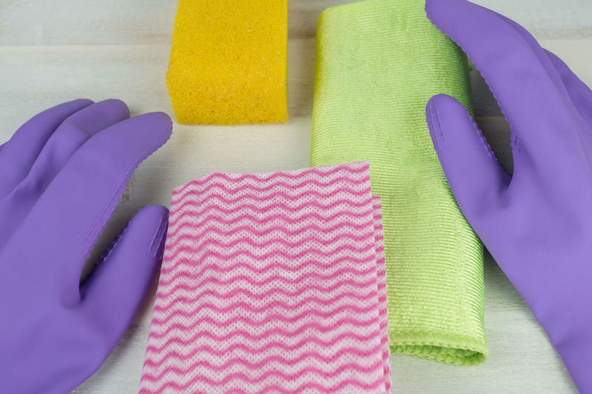 Housework Cleaning Cleaning Equipment Close-up Day High Angle View Housecleaning Housework Hygiene Indoors  Multi Colored No People Pink Color Protective Glove Rag Rubber Gloves Sponge Spring Cleaning Stuff Textile Washing Washing Up Glove Yellow
