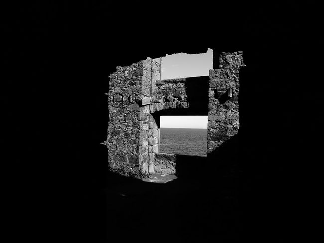 Room with a view Alone Cruden Bay EyeEm Best Shots EyeEmNewHere Scotland Slains Castle Black And White Black Background Bram Stoker Close-up Darkness And Light Dracula's Castle Forgotten Places  Ghosts Of The Past Mystery No People Black And White Friday