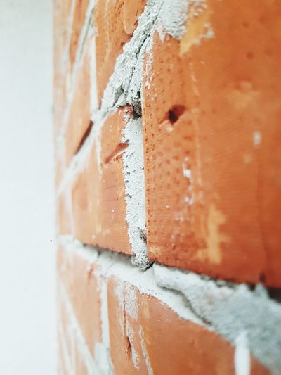 Close-up of orange paint on wall