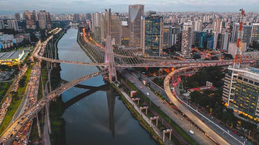 High angle view of highway amidst buildings in city