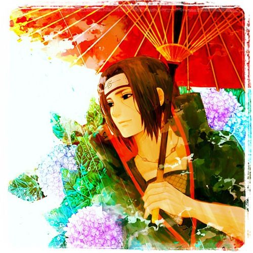 Itachi Uchiha, by Kishimoto. ItachiUchiha Itachi Naruto Ninja Sharingan Mangekyou Umbrella ColorOn Color Colors Stunningpic Instafollow Instapic Instanature Instadaily Instafollowback Follow4follow Followback Flowers Flower Sakura Akatsuki
