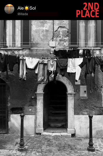 Clothes hanging outside building