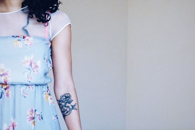 The tattooed future bride Tattoo Peony  Flower Dress Fashion Tattooed Tattooed Woman Peony Tattoo Arm Human Body Part Woman Half Portrait