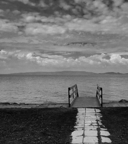 Summer Ends Balaton Beach Beauty In Nature Blackandwhite Photography Calm Cloud Cloud - Sky Coastline EyeEm Best Shots Horizon Over Water Idyllic IPhoneography Nature Non-urban Scene Remote Scenics Seascape Shore Sky Solitude Tourism Tranquil Scene Tranquility Vacations Water