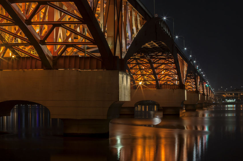 Arch Architecture Bridge Built Structure City Life Engineering Glowing Han River Hangang Illuminated Light Modern Night No People Reflection Seongsandaegyo Sky Tourism Tranquility Travel Destinations Water Water Reflections