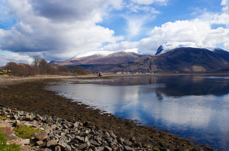Ben Nevis and Caledonian canal. Fort William. Mountain view and river,