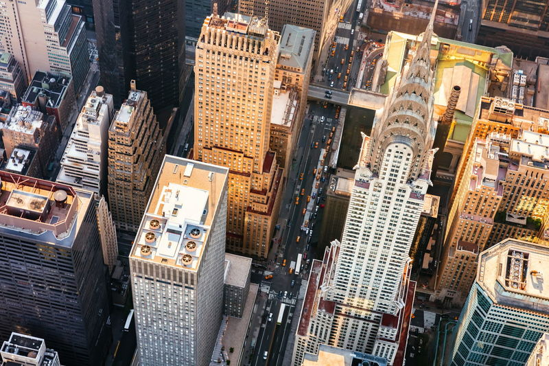 High Angle View Of Chrysler Building Amidst Towers In City