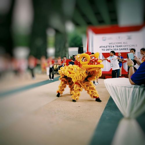 Posing for a photo in the midst of its performance Vscocam Liondance Marinachannel Celebration Party Seagames2015 舞狮 Singapore