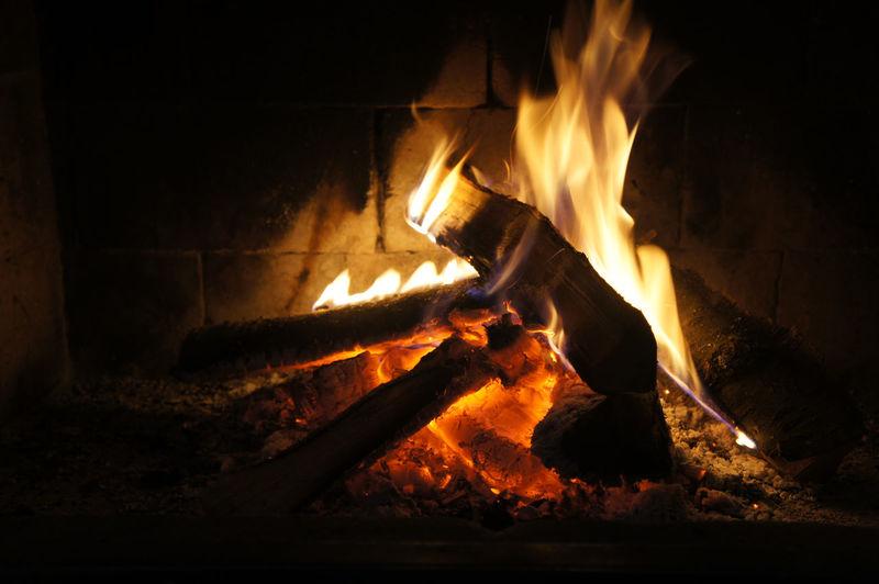 Close-Up Of Fireplace