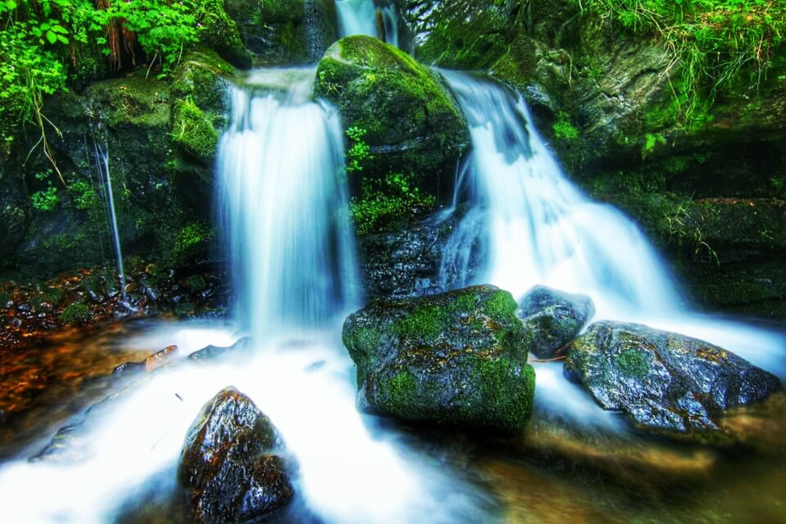 waterfall, motion, flowing water, long exposure, water, blurred motion, nature, beauty in nature, scenics, forest, no people, river, tranquil scene, rapid, moss, outdoors, day, freshness