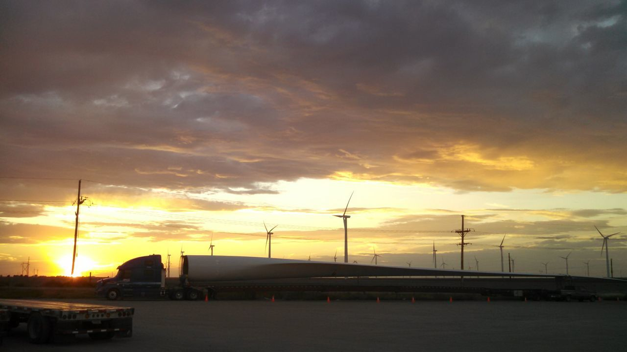 sunset, sky, cloud - sky, orange color, transportation, no people, built structure, mode of transport, silhouette, outdoors, nature, factory, building exterior, beauty in nature, architecture, wind turbine, day