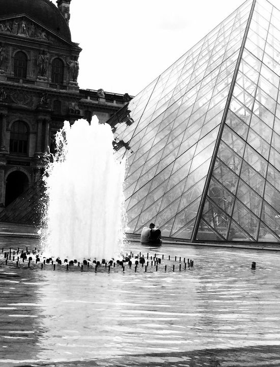 Love at the Louvre Water Architecture Built Structure Building Exterior Sky Day Waterfront Travel Destinations Real People Fountain Tourism Incidental People Travel