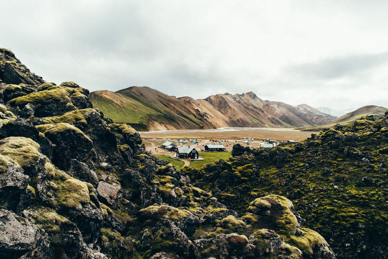 Camping Hiking Iceland Beauty In Nature Cloud - Sky Landmannalaugar Landscape Mountain Mountain Range Nature No People Outdoors Scenics Sky Tranquil Scene Tranquility