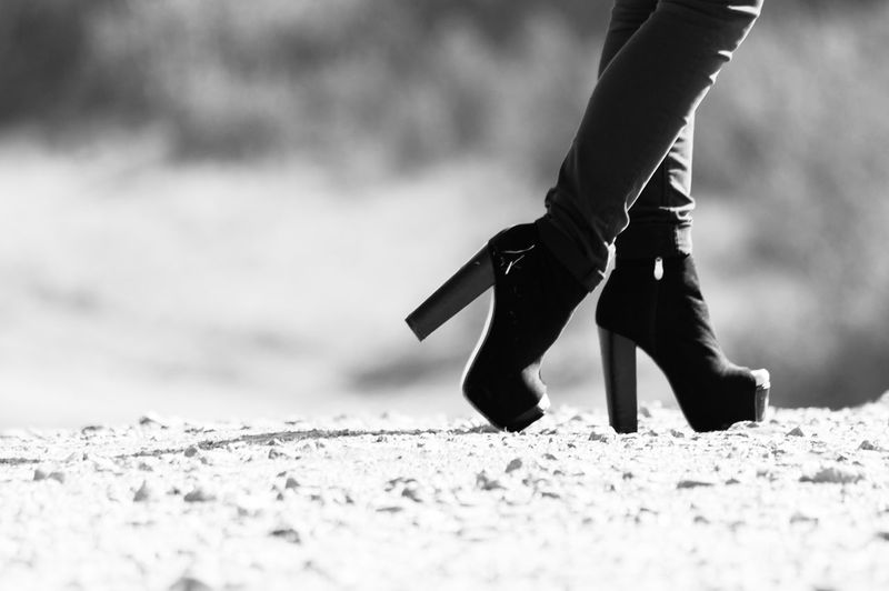 High Heels Black And White Composition Foot Grayscale One Person Selective Focus Shoes Woman