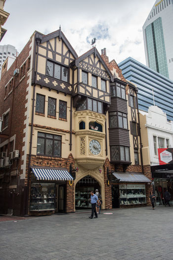 Tourist in front to the mock tudor Elizabethan style London Court at the Hay Street Mall in Perth, Western Australia Architecture Building Exterior Built Structure City Day Elizabethan English Tudor Façade Full Length Hay Street Mall Lifestyles London Court Mock Tudor Outdoors People Perth Real People Shopping Sky Street Tourist Tourist Attraction  Travel Destinations Walking Western Australia