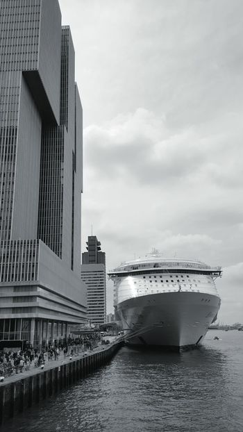 Taking Photos Check This Out Meuse Boat Royal Caribbean Cruise Amazing Cruise Ship Harmony Of The Seas Dutch Cities Water Buildings & Sky Architectural Detail Architecture_collection Architecture My City Is Beautiful My City City View  Kop Van Zuid De Rotterdam  City Cruiseship Design Your Design Story Riverside