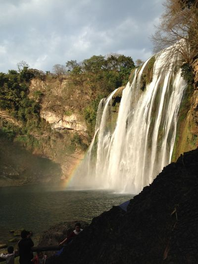 Huangguoshu Waterfalls People Watching Waterfall Beautiful Beautiful Nature Enjoying The View Great Views Rainbow