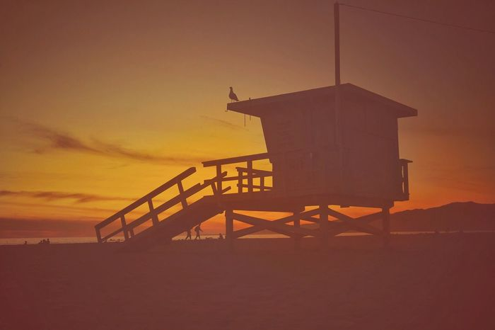 EyeEm EyeEmNewHere EyeEm Best Shots Sunset Built Structure Lifeguard Hut Silhouette Sky Architecture Nature Outdoors No People Tranquility Scenics Beauty In Nature Sea Day