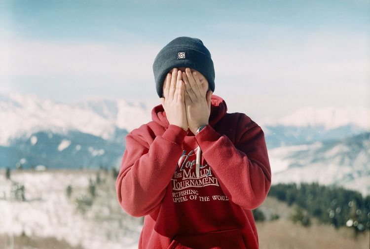 Fashion Film Cold Temperature Day Film Photography Focus On Foreground Front View Hooded Shirt Leisure Activity Lifestyles Mountain Nature One Person Outdoors People Real People Sky Standing Warm Clothing Winter Shades Of Winter This Is Masculinity The Portraitist - 2018 EyeEm Awards