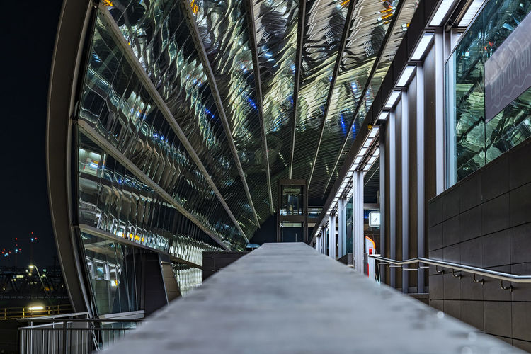 Subway Station Elbbrücken Arch Glass Construction Inside Long Exposure Night Architecture Built Structure Metal No People Illuminated The Way Forward Building Indoors  Connection Direction Low Angle View Bridge Diminishing Perspective Modern Ceiling Steel