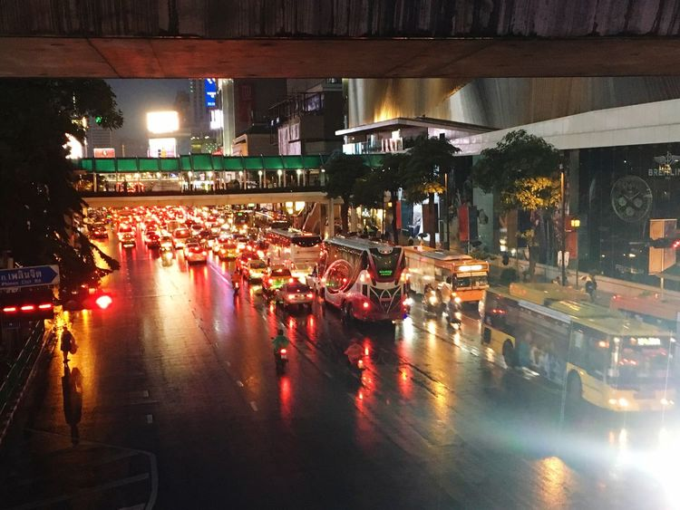 Bangkok Infamous Traffic Traffic Jam on a Rainy Day