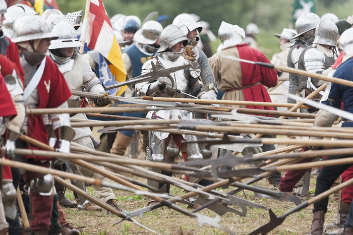 Battle of Tewkesbry, reenactment, 2016 Act Acting Archer Armour Battle Battlefield Britain British Celebration Event Engliand March Outdoors People Pike Reenactment Spear Tewkesbury War Of The Roses Wars Of The Roses