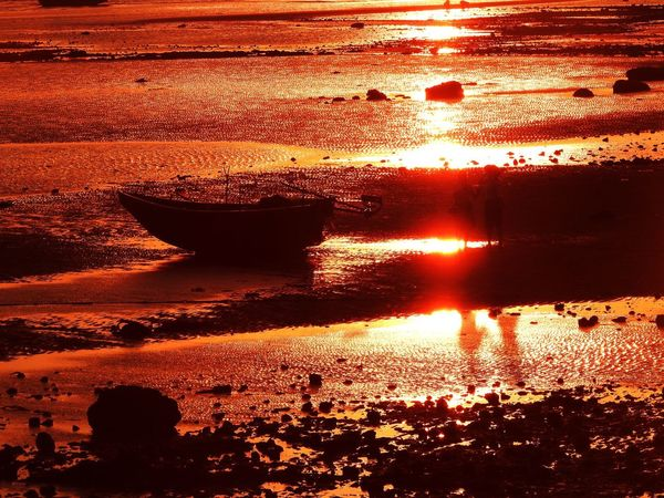 Sunset Water Full Frame Nature Orange Color Sunlight Backgrounds