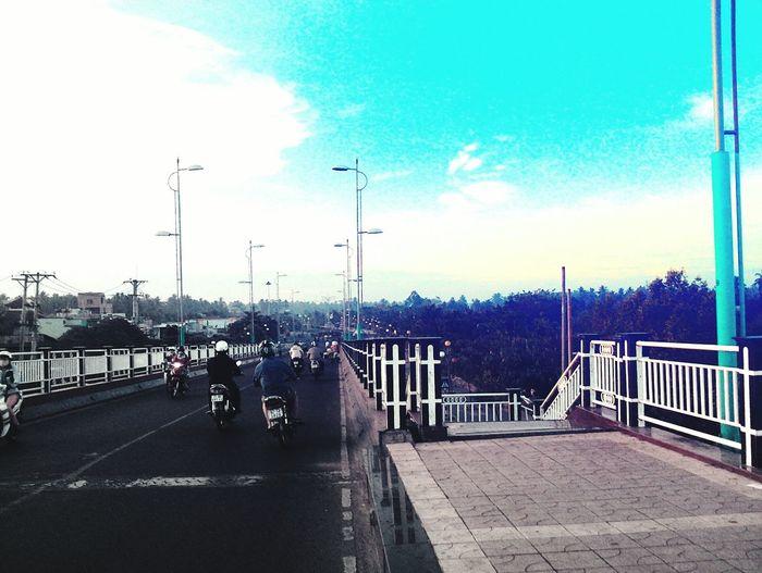Street Light Outdoors City Sky People Road Travel Destinations Day Bridge - Man Made Structure Adult Bentre,vietnam ........¤↑↓♧♣★☆→←↓↑◀▶▼▲ Viet Nam Bymyphone Sunnyday 🌸🌷🌿 Sunlight Tree