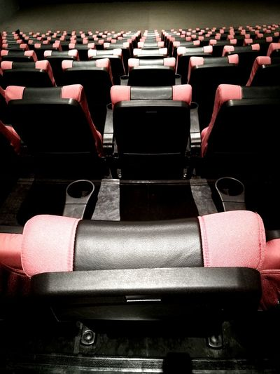 High angle view of empty seats in theater