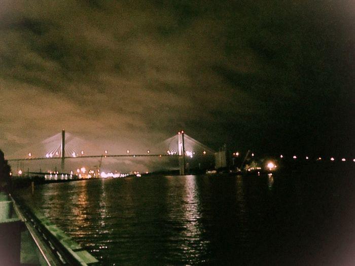 Battle Of The Cities Bridge - Man Made Structure Built Structure Suspension Bridge Night Waterfront River Travel Destinations Talmadge Bridge Savannah, GA