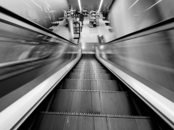 View of escalator in subway station