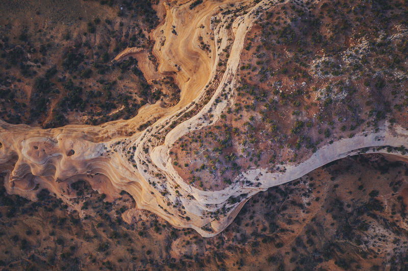 High angle view of desert road