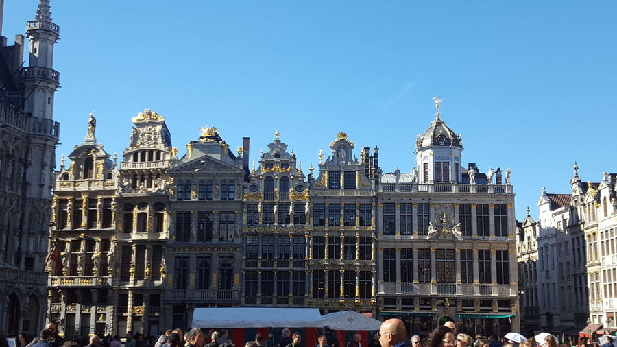 city square Architecture Gold Brussels Politics And Government City Clear Sky Blue Government King - Royal Person Sky Architecture Building Exterior Office Building Gothic Style Cityscape Tower Urban Scene
